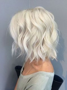 Light Blonde Curly Lob Hair Style Side View