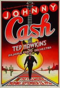 Johnny Cash Poster - Sep 26, 1994 - Artist:  Randy Tuten - Mint Condition