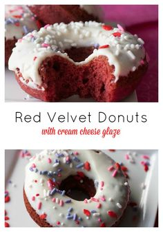 Red Velvet Donuts with Cream Cheese Glaze- an easy baked version perfect for a breakfast in bed treat this Valentine's Day!