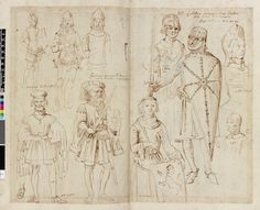William of Normandy, Arnulf II of Flanders and eight other noblemen, all but one wearing medieval armour; after Antonio de Succa; from Rubens' Costume Book Pen and brown ink