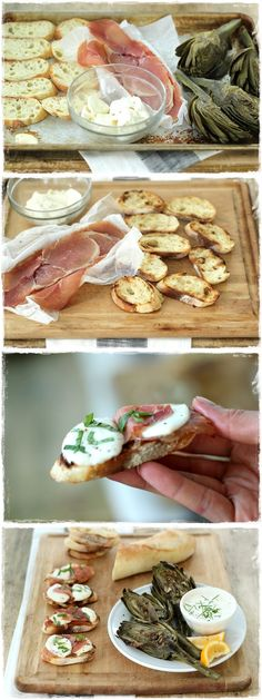Grilled Prosciutto, Fresh Mozzarella Garlic Toasts with Fresh Basil. When I have a fancy life with all the riches Appetizers For Party, Appetizer Recipes, Yummy Eats, Yummy Food, Tapas, Party Food And Drinks, Weird Food, Fresh Mozzarella, Prosciutto