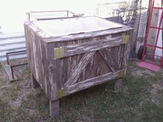got to ask the plumbers to save me the next old sink they replace. Old Sink, Outdoor Sinks, Plumbing, Storage Chest, Gardens, Outdoors, Indoor, Summer, Home Decor