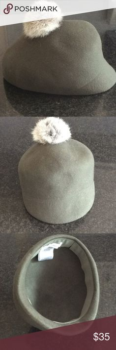 "BCBG Hat with real Angora fur Pom ❤️❤️ Beautiful Olive Green 100% wool cap / hat featuring adorable angora fur Pom detail! Circumference measures approx 22""...So Cute! BCBG Accessories Hats"