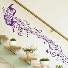 Music Notes Room Ideas | Music Butterfly Living Room Wall Sticker