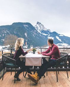 6 Dreamy Winter Destinations in Europe (With Travel Guides dinner in the swiss alps at huus gstaad via Find Us Lost Romantic Vacations, Romantic Getaway, Winter Date Ideas, Road Trip, Winter Destinations, European Destination, Swiss Alps, Winter Travel, Travel Guides