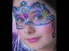 """2014"" New Years Mask Face Paint Design VIDEO Tutorial 