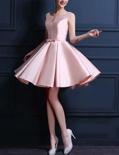Pink Homecoming Dress Bowknot Lace-up Satin Short Prom Dress Party Dress Satin Dresses, Elegant Dresses, Pretty Dresses, Strapless Dress Formal, Beautiful Dresses, Gowns, Cute Dresses For Party, Prom Party Dresses, Homecoming Dresses
