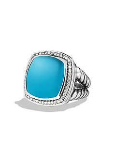 David+Yurman Albion+Ring+with+Turquoise+and+Diamonds