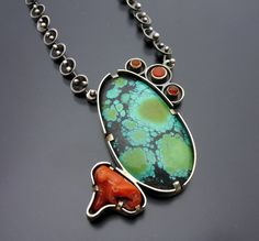Necklace | Ashley Akers. Sterling silver, Chinese Turquoise, coral and carnelians.