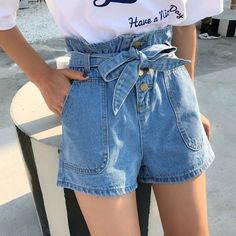 women shorts high waist Picture - More Detailed Picture about Summer Women's Shorts High Waist 2017 Jeans Shorts Korean Style Slim Short Feminino Straight New Pockets Hot Drawstring Picture in Shorts from LetsGoGo Trading Co. Mode Outfits, Casual Outfits, Summer Outfits, Fashion Outfits, Womens Fashion, Fashion Trends, Summer Shorts, Denim Outfits, Summer Denim