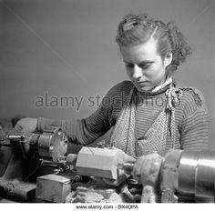 Czechoslovakia - Prague, 1950. Woman manufactures marionettes. CTK Vintage Photo - Stock Image