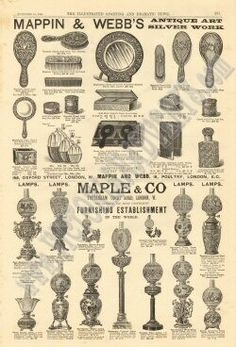 Mappin Webbs - Maple and Co - Oil lamps and Hairbrushes - 1889