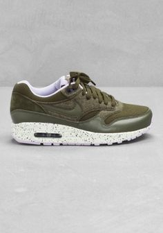 Nike air max 1 olive green with leather and suede details