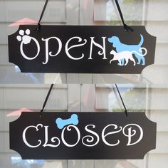 5H x 15.5W Double Sided OPEN CLOSED Sign for Pet