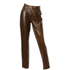 Preowned Burberrys 90s 1990s Brown Soft Buttery Leather High Waist... ($295) ❤ liked on Polyvore featuring pants, brown, white high waisted trousers, leather pants, white pants, white zipper pants and high-waist trousers