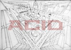 Cityscape in three point perspective line drawing.  - Paper & 0.3mm pointer.