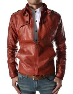 TheLees Mens Slim Fit Neck Belt Button Point Synthetic Leather Short Jacket