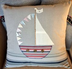 Applique Boat Nautical Cushion Pillow with by AudaciousTextiles, $39.50