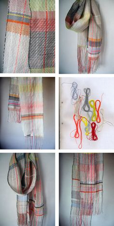 lovely woven scarfs <-- look at those lovely colours
