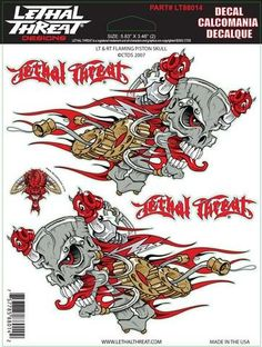 """Left + Right Flaming Pistons - 6"""" by 8""""  - LT88014 Lethal Threat Decal"""