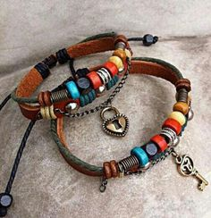 DIY leather charm bracelets