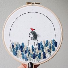 And it's doneThis one is called; 'one with nature #3'. I really kinda like the little guy on top of her head, might do another piece with a birdIt can even be a part of the 'one with nature' series, stay tuned . . . #kayrahandmade #embroidery #handembroidery #embroideryart #hoopart #needleart #needlepainting #instagood #stitchersofinstagram #modernembroidery #dmcthreads #dmcembroidery #embroideryinstaguild #fiberart #needleworksociety #craftsposure #bordado #вышивка #刺繡藝術 #刺繍 #wearethem...