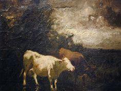 """Cows in a Landscape,"" Edward Mitchell Bannister, ca, 1885, oil on canvas, 10  x 12"", Essie Green Galleries."