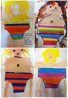 Swimsuit / bathing suit of colored strips and paint the body. - Thema Water - Swimsuit / bathing suit of colored strips and paint the body. Summer Crafts, Crafts For Kids, Diy Crafts, Sweet Autumn Clematis, Group Art Projects, Garden Boxes, Chickens Backyard, Jaba, Summer Kids
