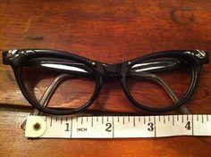 Vintage Cat Eye Glasses Black Silver Frames Eyewear