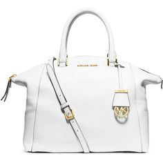 MICHAEL Michael Kors Riley Large Pebbled Leather Satchel Bag (39800 ALL) ❤ liked on Polyvore featuring bags, handbags, optic white, shoulder bags, white purse, dome satchel purse, white paper bags and dome satchel handbag