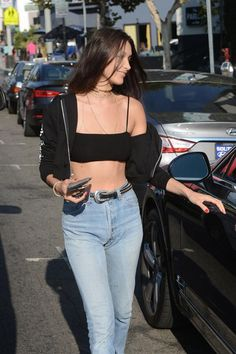 Bella Hadid wearing B-Low the Belt Barcelona Belt, Reformation Moss Two Piece and Luv AJ Double Spear Collar