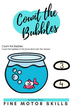 Lets have fun counting 1-5. Count the bubbles of the fish! Motor Skills Activities, Counting Activities, Fine Motor Skills, Learning Numbers Preschool, Let's Have Fun, Teacher Newsletter, Bubbles, Fish, Teaching