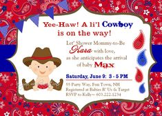 Cowgirl Baby Shower Invitation Cowgirl Hat By