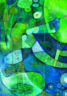 Blue and Green / Alessandra Cimatoribus Miguel Angel, Blue And Green, Shades Of Green, Pastel Art, Color Azul, Artist Art, Color Themes, Great Artists, Cover Art
