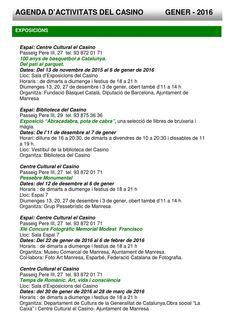 Agenda d'activitats del Casino de Manresa. Gener 2016  Agenda d'activitats a l'edifici del Casino de Manresa durant el mes de gener de 2016