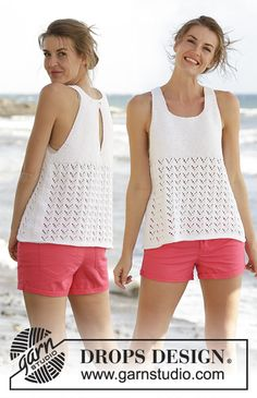 Drops 170-24, Knitted top in garter st with lace pattern and back vent in Cotton Light