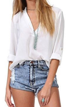 V-Neck Half Sleeve Loose Fit Chiffon Blouse (More Colors Available) – Trendy Road