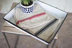 French Country Red Striped Kitchen Towels, set of six