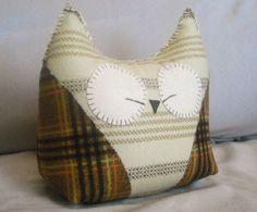 plaid owl pillow