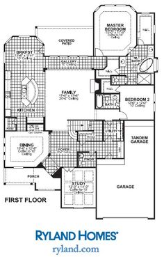 Veloce, first floor, 3700 sq ft Ryland Homes, Tandem Garage, Coffer, Master Bedroom, House Plans, Porch, Floor Plans, Patio, Flooring