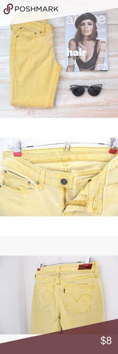 Levis Demi curve Skinny Jeans Levis Demi curve skinny jeans in the color light yellow size 26, measurements laying flat are waist 13 1/2  rise 8' inseam 24' leg opening 5 1/2, has minor stain on right thigh as seen in picture above not noticeable, in good conditions ⭐️bundle&save⭐️ Levi's Jeans Skinny