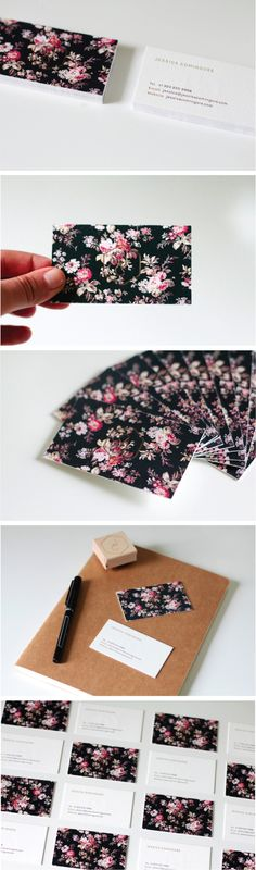 stunning business card design by LA based Jessica Comingore (whom I avidly follow on Spotify, thanks Jessica). She used vintage floral with a nice modern font. The colors of the floral make you take notice of everything else subtle or not.