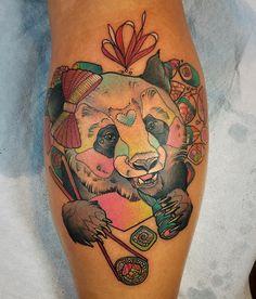 thank you Tiffany for asking for a colourful panda bear eating sushi!! #pandabear #pandatattoo #sushitattoo #eternalink #hushanesthetic