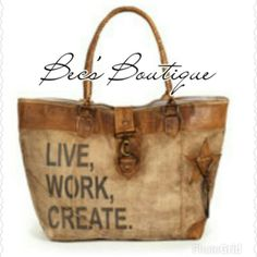 "COMING SOON! Vintage Style Tote Bag 12?""L x 11?""H x 4""D.? Lined canvas bag with leather elements. Our Live, Work, Create Canvas Tote features drop handles and other elements in soft leather.? It features an inside pocket with a stylish ticking lining. Boutique Bags Totes"