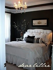 Master bedroom paint color Kendall Charcoal by Benjamin Moore...never thought black walls would look good, but that looks fantastic!