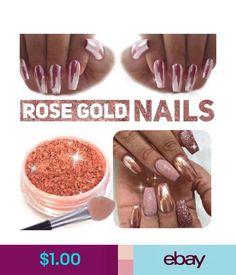 Nail Art Accessories Nail Rose Gold Mirror Glitter Chrome Powder Nail Art Pigment Diy Dust Gel Polish #ebay #Fashion