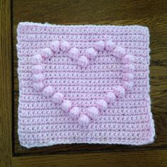 How to crochet a square with heart bobble chart