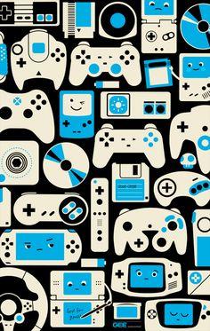 Technology Will Save Us Gamer DIY Kit Game art by Axel Pfaender- PweetySexxay- Retro Videos, Retro Video Games, Video Game Art, Retro Games, All Video Games, Video Game Posters, Retro Wallpaper, Pattern Wallpaper, Iphone Wallpaper