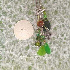 By the Sea, Mermaid Sea Glass Chain Dangle Necklace by P. Quinn of My Found Objects #seaglassjewelry #myfoundobjects #handmadejewelry #handcraftedjewelry