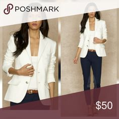 """⚡THE SALE⚡Ralph Lauren White Blazer This season calls for a blazer as your office wear...or rock it however you like! In excellent mint condition..time to part with this beauty....more pics to come Length""""21"""" Armpit to armpit""""18"""" Shoulder to shoulder""""15"""" Ralph Lauren Jackets & Coats Blazers"""